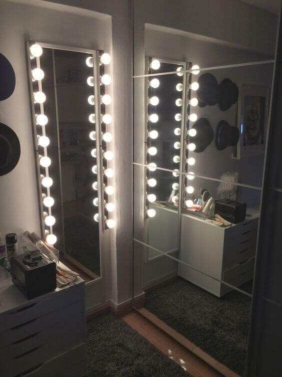 Simple DIY Vanity Mirror with Lights in an Awkward Space